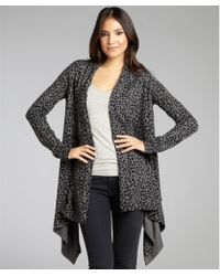 Autumn Cashmere Leopard Print Cashmere Open Front Ribbed Cardigan - Lyst