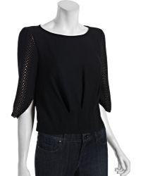BCBGMAXAZRIA Lace Sleeve Top black - Lyst