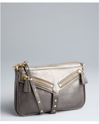 Botkier Pewter Leather Trigger Moto Clutch - Lyst