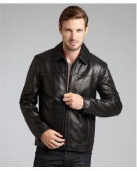 Cole Haan  Leather Zip Front Jacket - Lyst