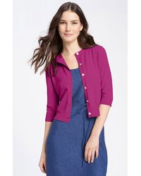 Eileen Fisher Elbow Sleeve Crop Cardigan - Lyst