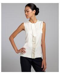 Elie Tahari Creme Silk Stretch Felicity Button Front Sleeveless Blouse - Lyst