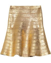 Hervé Léger Coated Bandage Skirt gold - Lyst