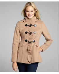 Kensie Camel Bow Toggle Ruffle Front Hooded Coat - Lyst