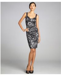 Laundry by Shelli Segal Black and White Stretch Lace Tank Strap Party Dress - Lyst