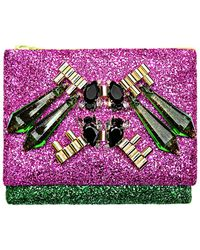Mawi Mirrored Tubes Teadrop Crystals and Perxpex Spikes Double Glitter Clutch - Lyst