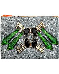 Mawi Mirrored Tubes Teadrop Crystals and Perxpex Spikes Single Glitter Clutch - Lyst