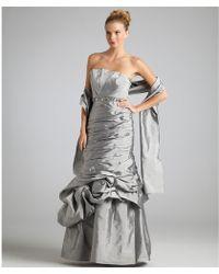 ML Monique Lhuillier Silver Taffeta Strapless Beaded Waist Mermaid Gown - Lyst