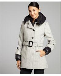 SOIA & KYO -  Wool Blend Pink Chevron Belted Coat - Lyst