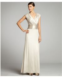 Tadashi Shoji Champagne Stretch Knit Jersey Sequin Band Gown - Lyst