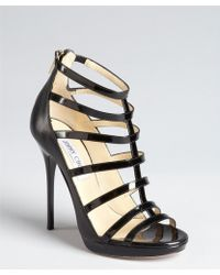 Jimmy Choo Black Patent Leather Caged Open Toe Stilettos - Lyst