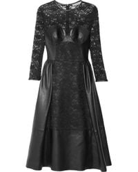 Mulberry Paneled Leather and Lace Dress - Lyst