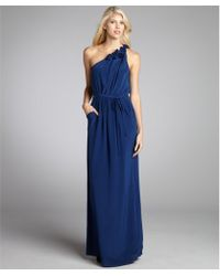 Rebecca Taylor Blueberry Silk Pocket Belted Rosette One Shoulder Maxi Dress - Lyst