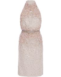Elie Saab Halter Beaded Shift Dress - Lyst