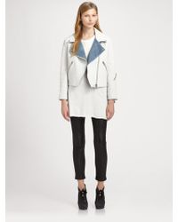Acne Studios Rita Denim Trim Leather Jacket - Lyst
