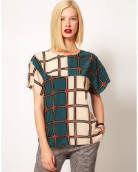 ASOS Collection Top with Mixed Check and Dipped Back - Lyst