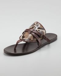 Belstaff | Flat Python leather Thong Sandal Dusty Brown | Lyst