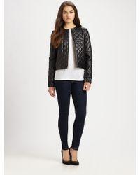 Diane von Furstenberg Delilah Quilted Leather Jacket black - Lyst