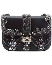 Valentino Crystal Embellished Shoulder Bag - Lyst