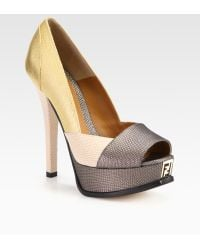 Fendi Fendista Metallic Lizardprint Leather Platform Pumps - Lyst