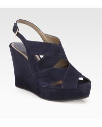 Marni Suede Banded Wedge Sandals - Lyst