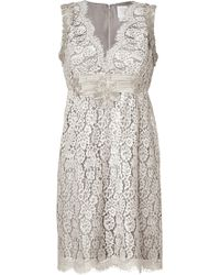 Anna Sui Silvergrey Embroidered Botanic Lace Dress - Lyst