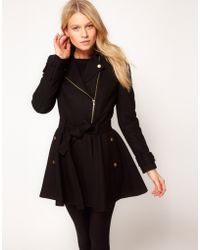 ASOS Collection Asos Fit and Flare Biker Coat - Lyst