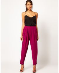 ASOS Collection Asos High Waisted Peg Trouser purple - Lyst