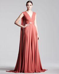 Elie Saab Capeback Georgette Gown - Lyst