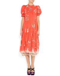 Meadham Kirchhoff - Luciana Embroidered Silk Chiffon Dress - Lyst