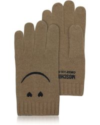 Moschino - Cheap and Chic Brown Wool and Cashmere Gloves - Lyst