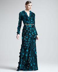 Oscar de la Renta Embroidered Velvet Cutout Gown - Lyst