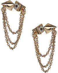 Topshop Double Spike Chain Earrings - Lyst