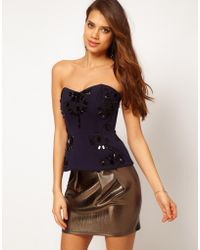 ASOS Collection Asos Corset with Peplum and Large Embellishment blue - Lyst