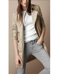 Burberry Brit - Midlength Cotton Trench Coat - Lyst