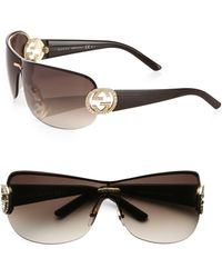 Gucci Oversized Round Crystal Gg Shield Sunglasses - Lyst