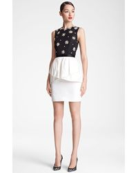 Jason Wu Embroidered Peplum Sheath Dress - Lyst
