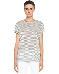T By Alexander Wang Linen Stripe Tee in Chalk Ink - Lyst