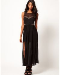TFNC Maxi Dress with Embellished Mesh Bodice - Lyst
