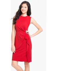 Calvin Klein Side Ruffle Jersey Sheath Dress red - Lyst