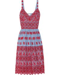 Collette by Collette Dinnigan - Embroidered Cotton Chambray Dress - Lyst
