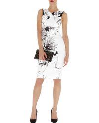 Karen Millen Oriental Floral Print Dress - Lyst
