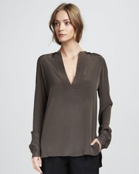 Vince Trapuntoplacket Top Elephant - Lyst