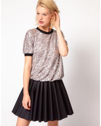 ASOS Collection Top in Metallic Rose Print - Lyst