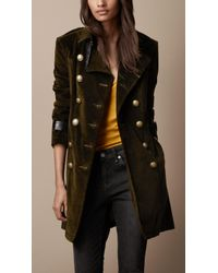 Burberry Brit - Midlength Corduroy Leather Cuff Trench Coat - Lyst