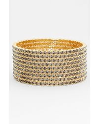 Cara Accessories Large Crystal Cuff - Lyst