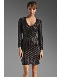 BCBGMAXAZRIA Long Sleeve Dress black - Lyst
