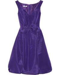 Oscar de la Renta Bow Embellished Silk Faille Dress purple - Lyst