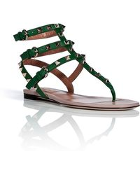 Valentino Green Leather Rockstud Sandals - Lyst