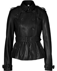 Burberry Black Leather Rushcourt Jacket - Lyst